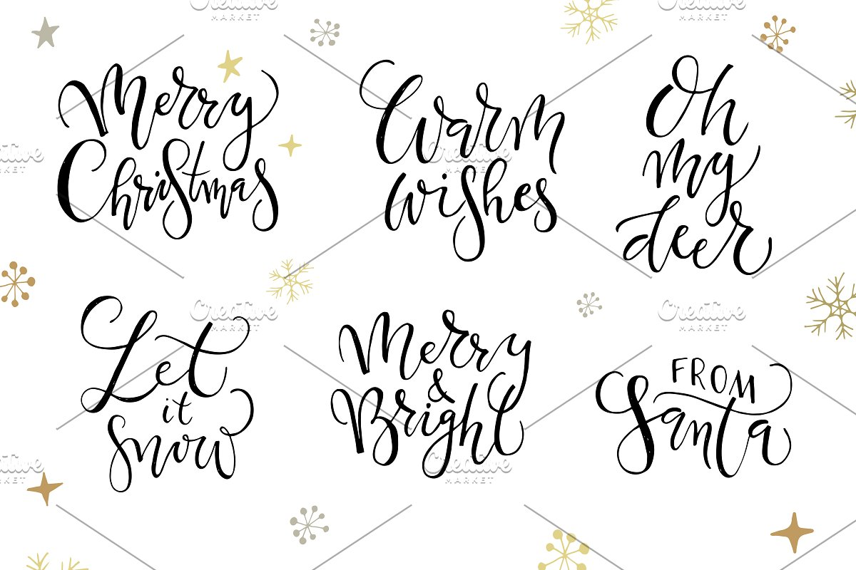 Christmas Calligraphy.Merry Christmas Calligraphy Set Templates Creative Market