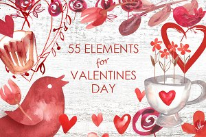 55 Elements for Valentines Day