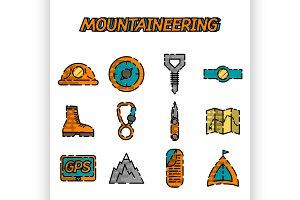 Mountaineering flat icon set