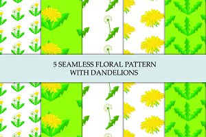 Five seamless floral vector patterns