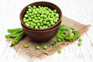 Bowl with fresh peas