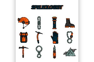 Speleologist flat icon set