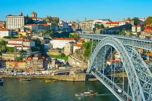 Porto & famous Dom Luis bridge view