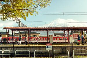 Train station. Mt Fuji