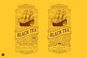 Vintage Tea Label Logo
