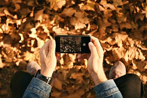 Man taking picture of autumn leaves with smartphone