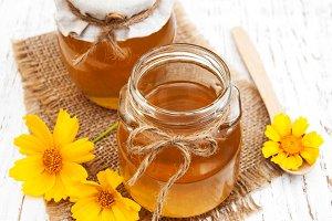 Honey with yellow flowers