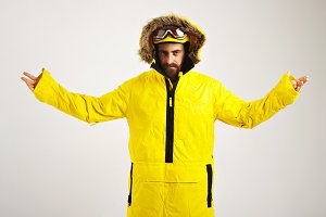 Snowboarder demonstrating bright anorak coat
