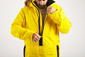 Snowboarder in bright anorak