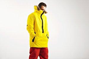 Snowboarder in bright anorak