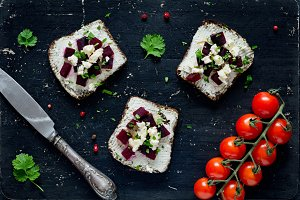 Goat cheese and roasted beet toasts