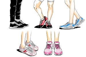 Running shoes, set of pictures