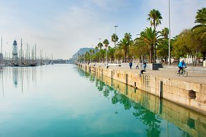 Barcelona embankment, Spain