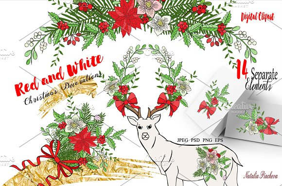 Red and White. Christmas Decorations - Illustrations