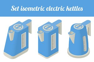 Set isometric electric kettles