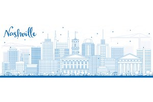 Outline Nashville Skyline