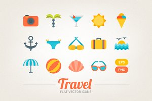 Flat travel icons