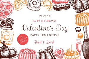 Valentine's Day Menu Elements