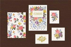 Set vintage floral card