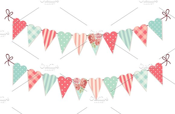 Cute Patchwork Hearts Bunting