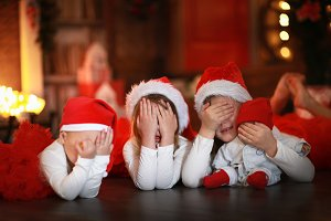 Christmas children hide and seek
