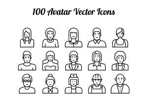 100 Avatar Line Icons