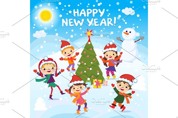 happy new year 2017 children fun graphics