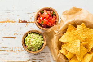Party food - nachos with salsa and guacamole