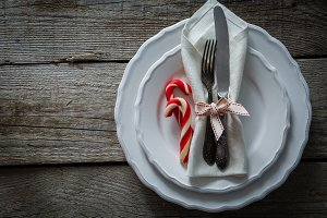 Christmas table setting decoration