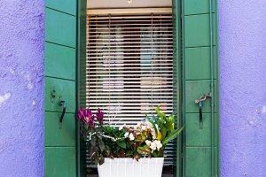 Window in Venetian island of Burano