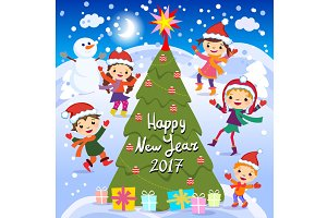 Happy New Year. 2017 Winter fun kids