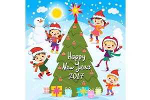 Happy New Year 2017. Winter fun kids