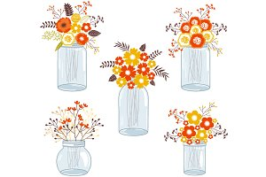 Fall Flowers in Mason Jars