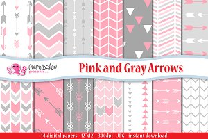 Pink and Gray Arrows Digital Paper