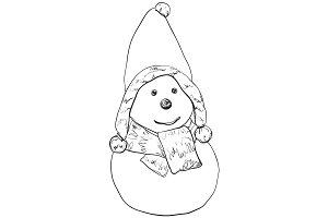 Funny snowman sketch.