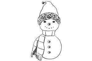 Hand drawn snowman.