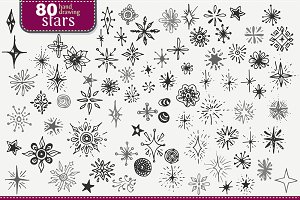 Set of hand-drawing stars