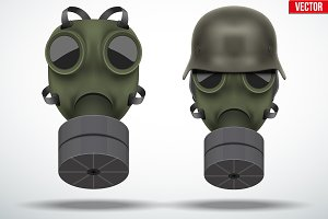 Set of vintage military gas mask