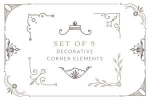9 Hand Drawn Corner Elements