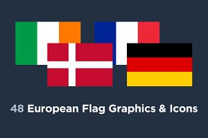 48 European Flag Country Icons