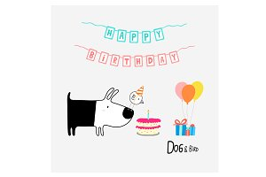 Dog & Bird Happy Birthday