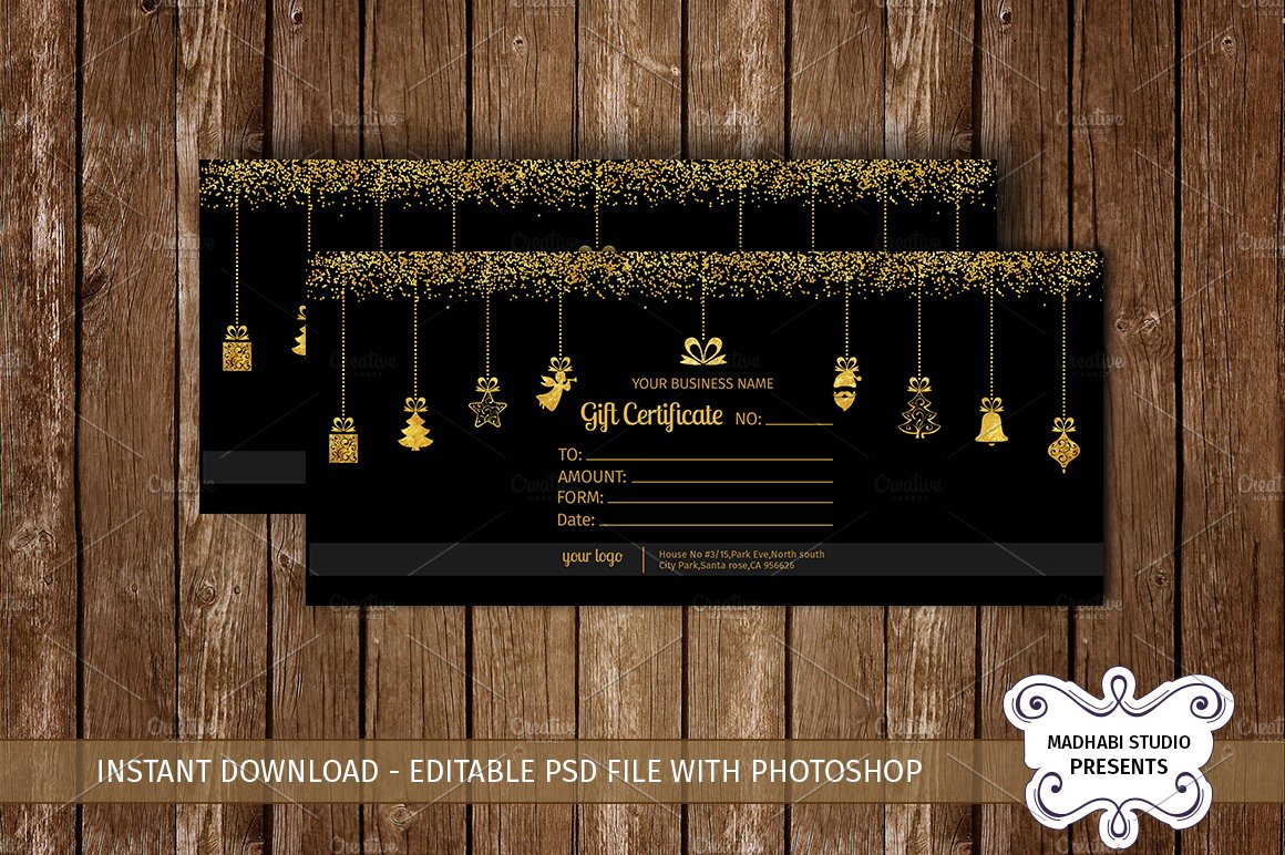 Gift certificate template card templates creative market yelopaper Gallery