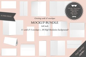 Greeting cards 4x8 - Mockup bundle
