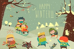 Cute kids playing winter games