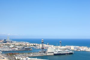 Port of Barcelona From Montjuic Hill