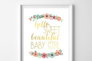 Hello Sweet Beautiful Baby Girl 8x10
