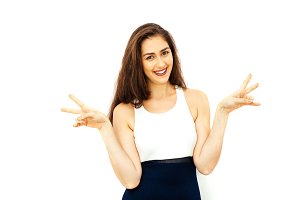 Beautiful woman making hands gesture showing two fingers with copy space - Peace sign, victory gesture and fun time concept