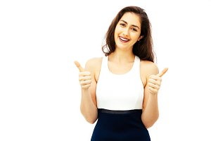 Beautiful young Caucasian woman in smart casual dress giving thumbs up gesture with copy space on isolated white background