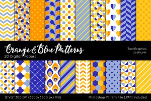 Orange & Blue Digital Papers