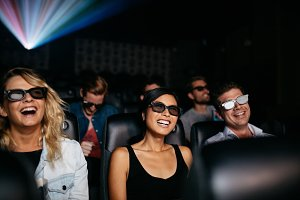 Friends watching 3d movie